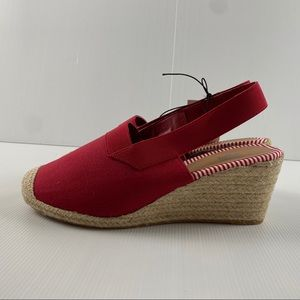 Women's Red Espadrille Elasticated Strap Wedge Sandal Heel Shoes Size 10